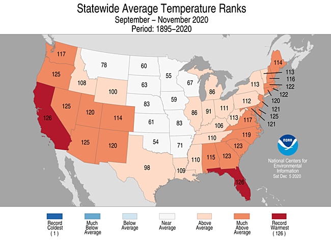 3-Month Statewide Average Temperature Ranks