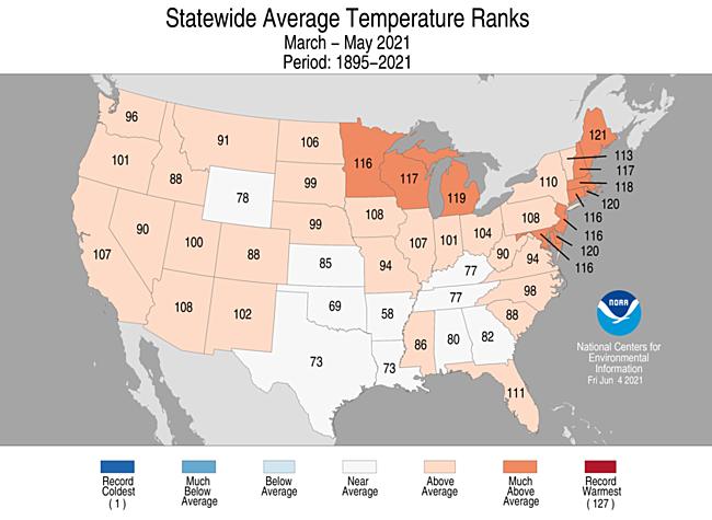 3-Month Statewide Average Temperature Ranks