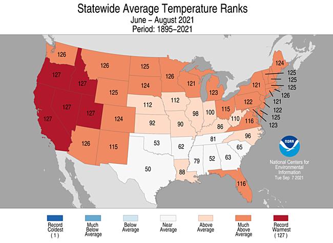 June - August 2021 Statewide Average Temperature Ranks
