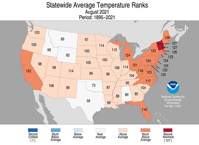 August 2021 Statewide Average Temperature Ranks
