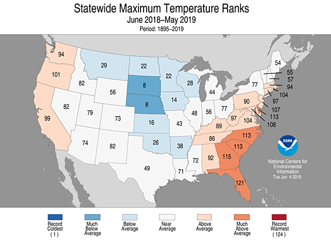12-Month Statewide Maximum Temperature Ranks