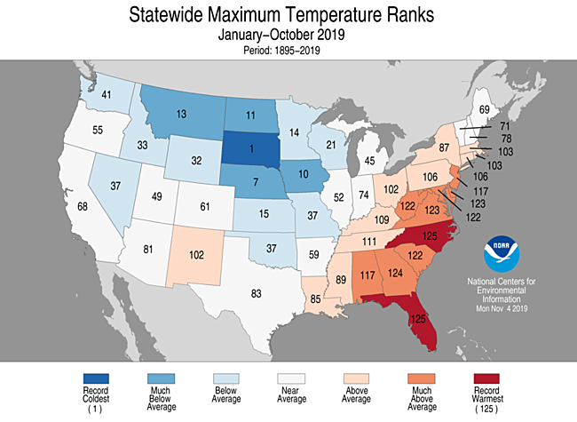 Year-to-Date Statewide Maximum Temperature Ranks