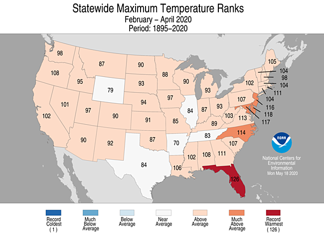 3-Month Statewide Maximum Temperature Ranks