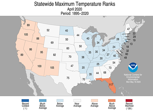 1-Month Statewide Maximum Temperature Ranks