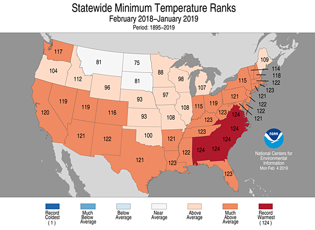 12-Month Statewide Minimum Temperature Ranks