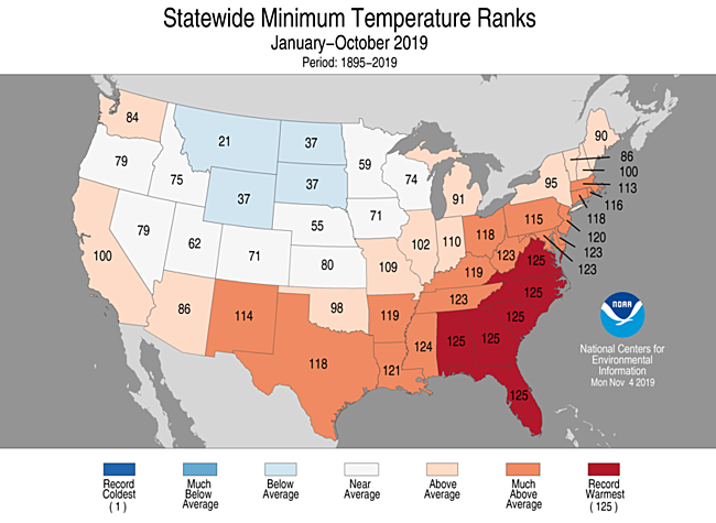 Year-to-Date Statewide Minimum Temperature Ranks