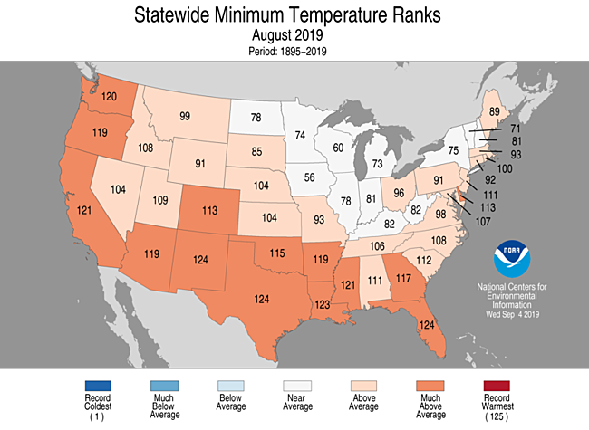National Climate Report - August 2019 | State of the Climate ...