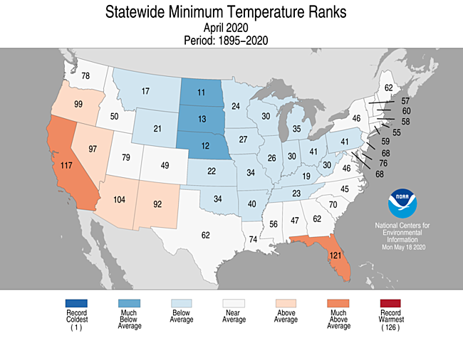 1-Month Statewide Minimum Temperature Ranks