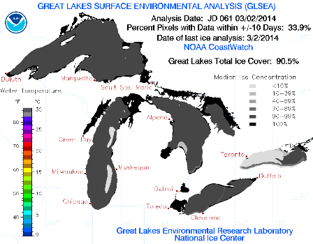 March 3 Great Lakes Ice Concentration