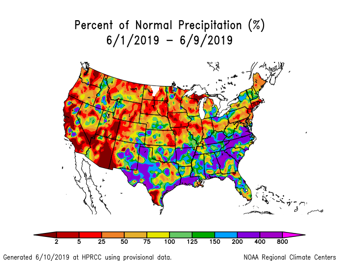 Precipitation anomalies (percent of normal) for the CONUS for June 1-9 2019
