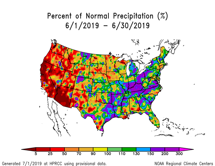 Precipitation anomalies (percent of normal) for the CONUS for June 2019