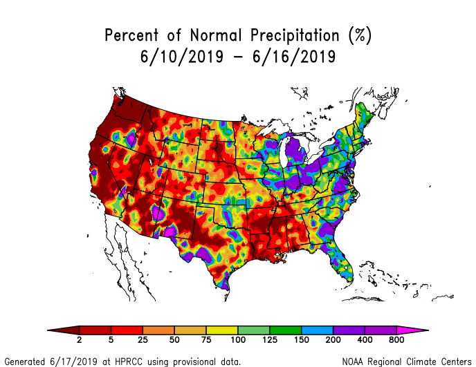 Precipitation anomalies (percent of normal) for the CONUS for June 10-16 2019