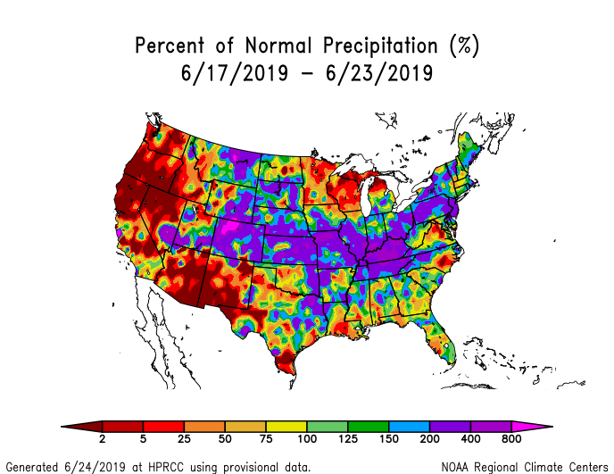 Precipitation anomalies (percent of normal) for the CONUS for June 17-23 2019