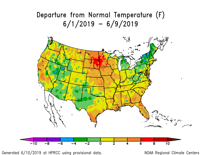 Temperature anomalies (departure from normal) for the CONUS for June 1-9 2019