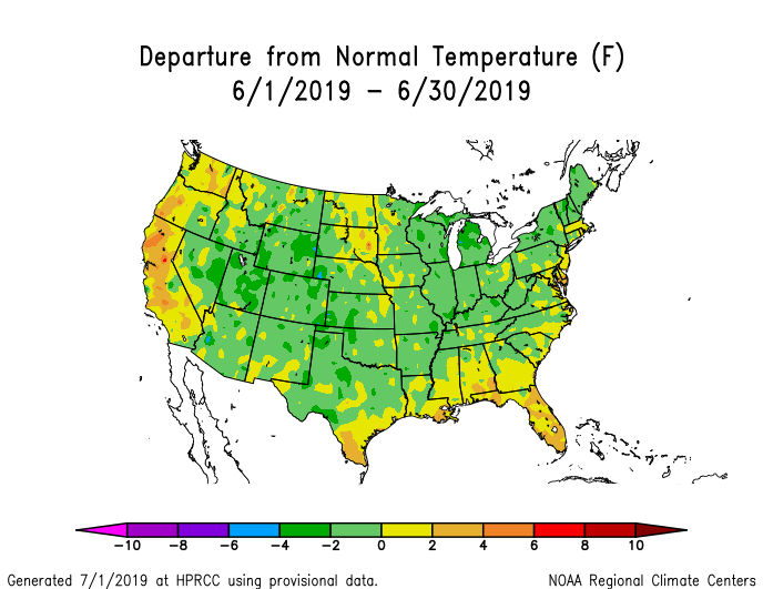 Temperature anomalies (departure from normal) for the CONUS for June 2019