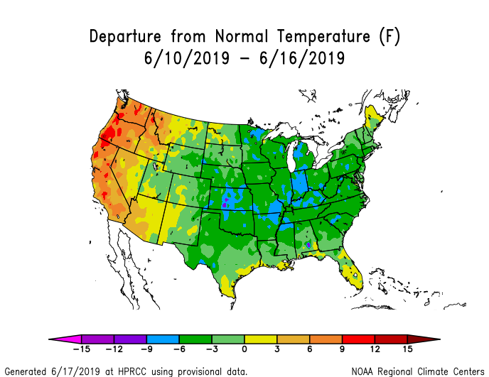 Temperature anomalies (departure from normal) for the CONUS for June 10-16 2019