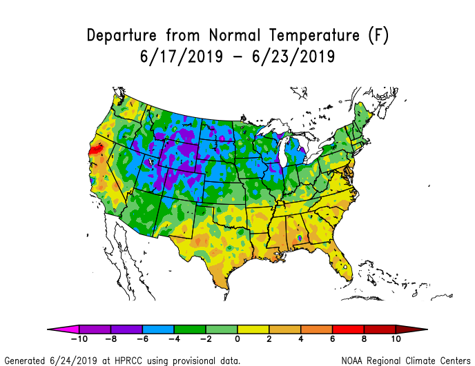 Temperature anomalies (departure from normal) for the CONUS for June 17-23 2019