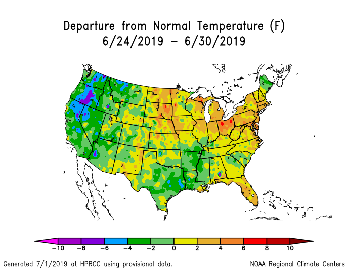 Temperature anomalies (departure from normal) for the CONUS for June 24–30 2019