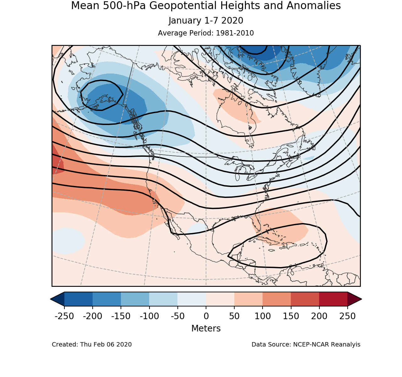 500-mb circulation anomalies for North America for January 1-7 2020