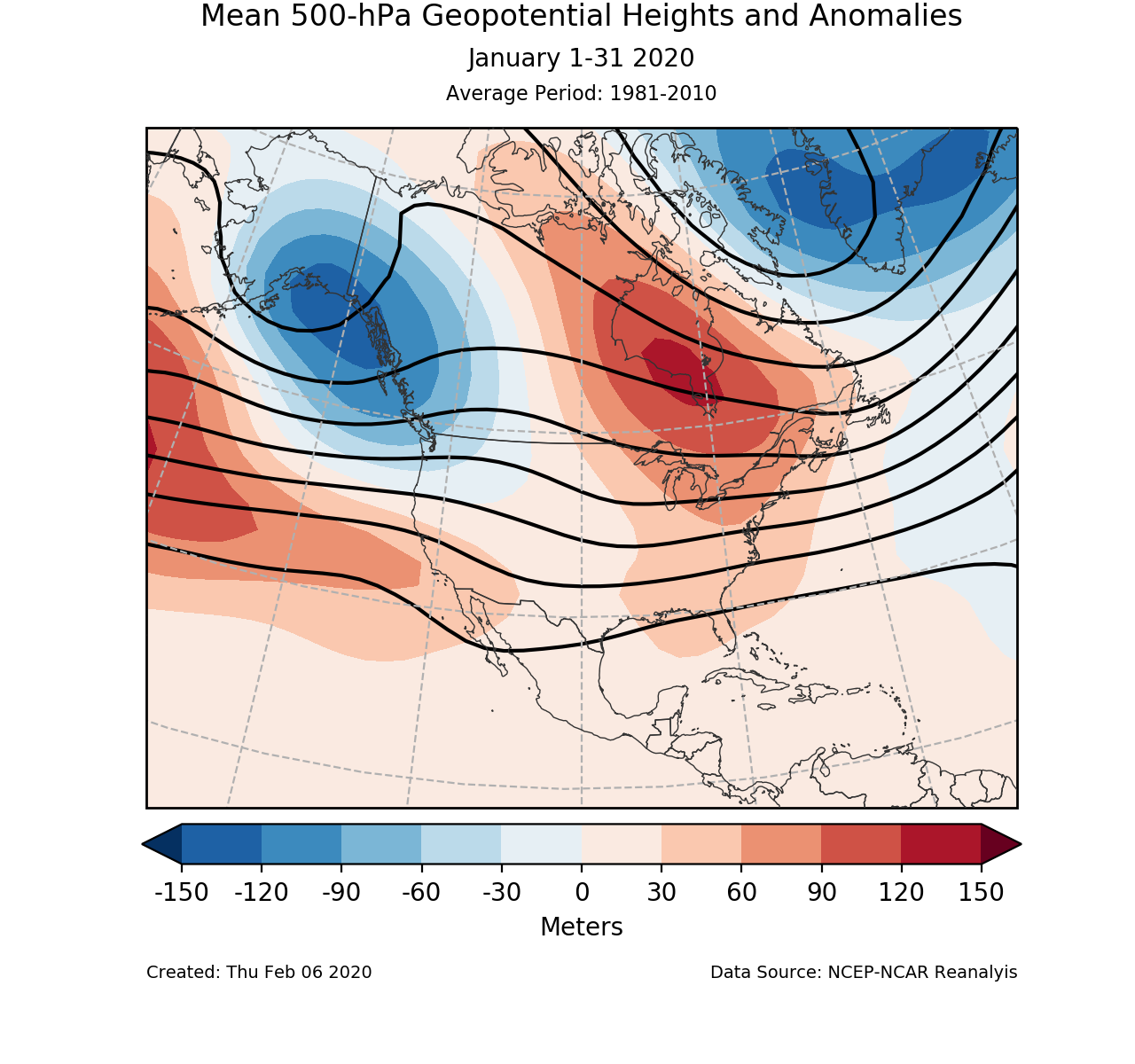 500-mb circulation anomalies for North America for January 2020