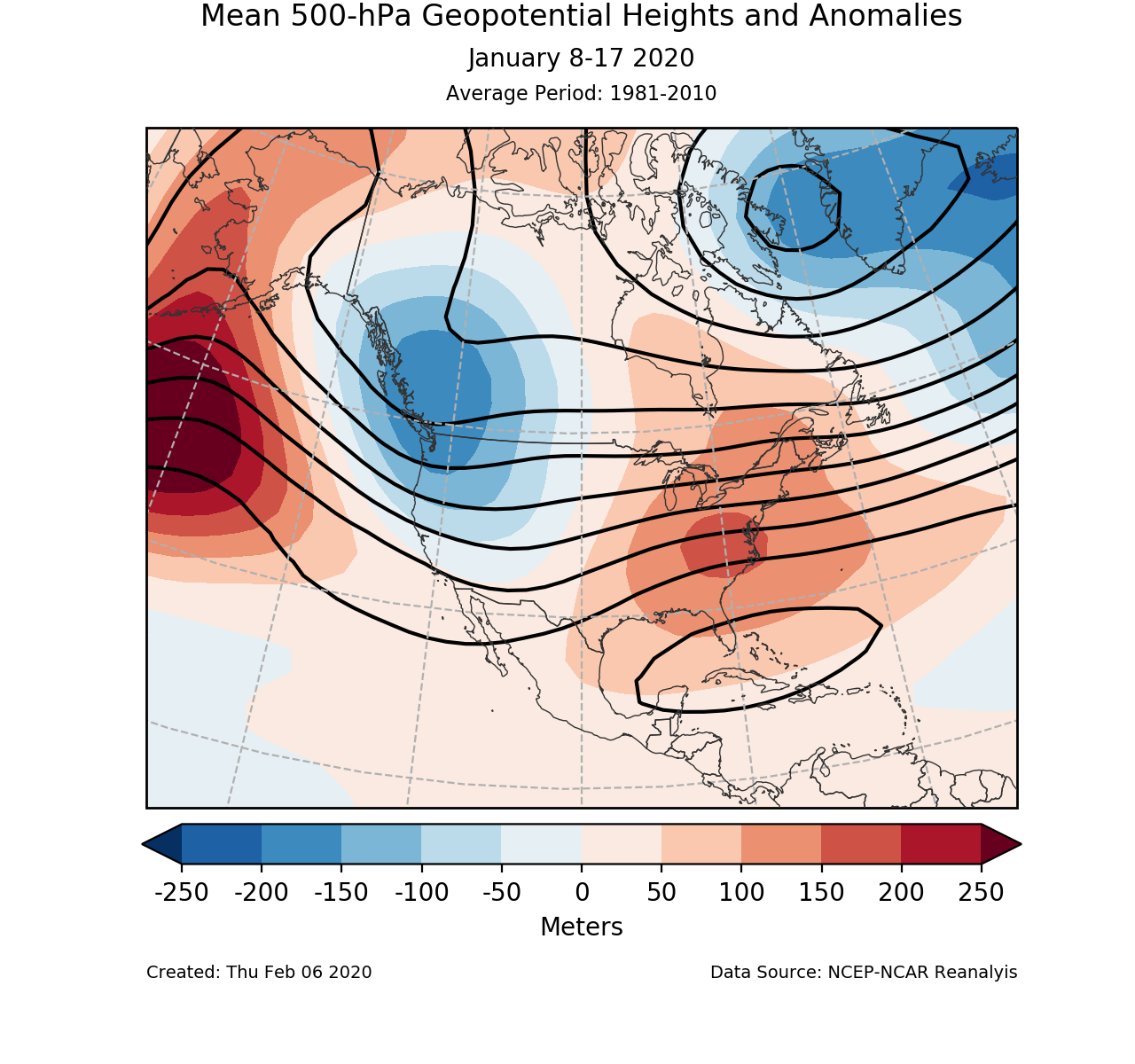 500-mb circulation anomalies for North America for January 8-17 2020