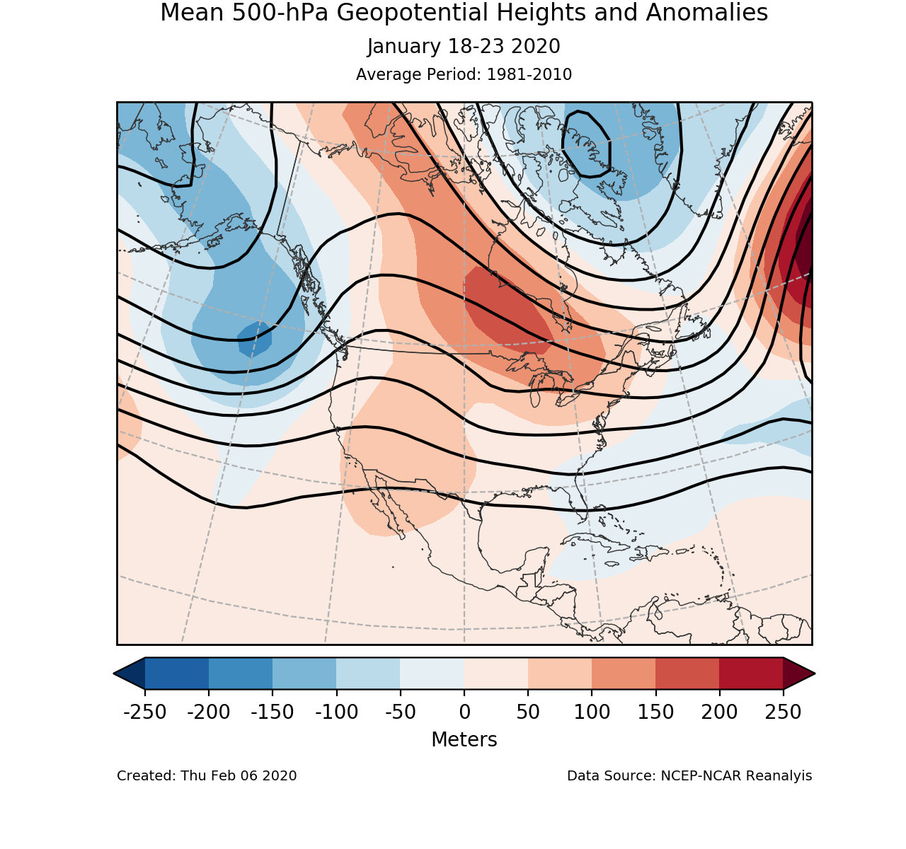 500-mb circulation anomalies for North America for January 18-23 2020