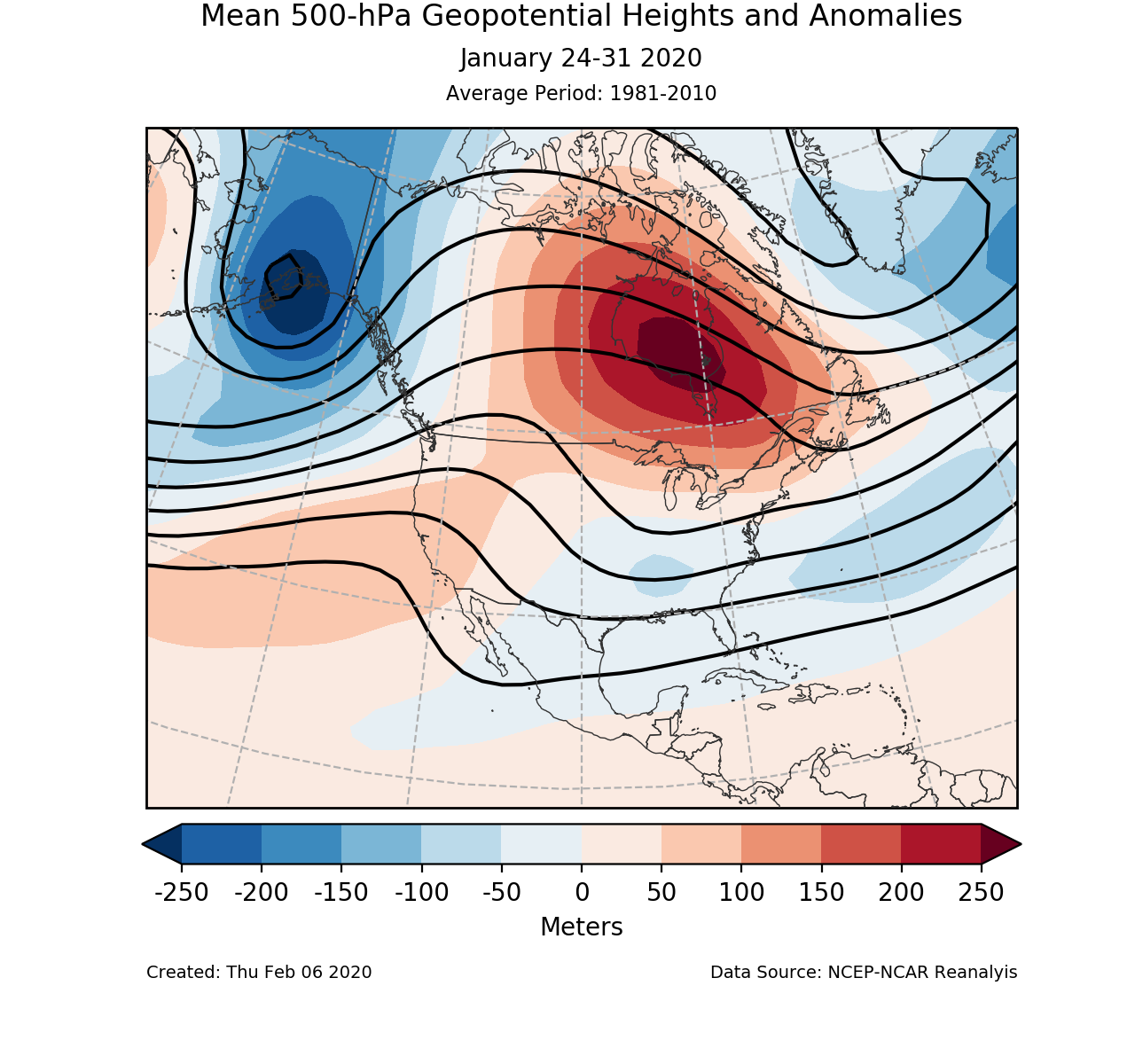 500-mb circulation anomalies for North America for January 24-31 2020