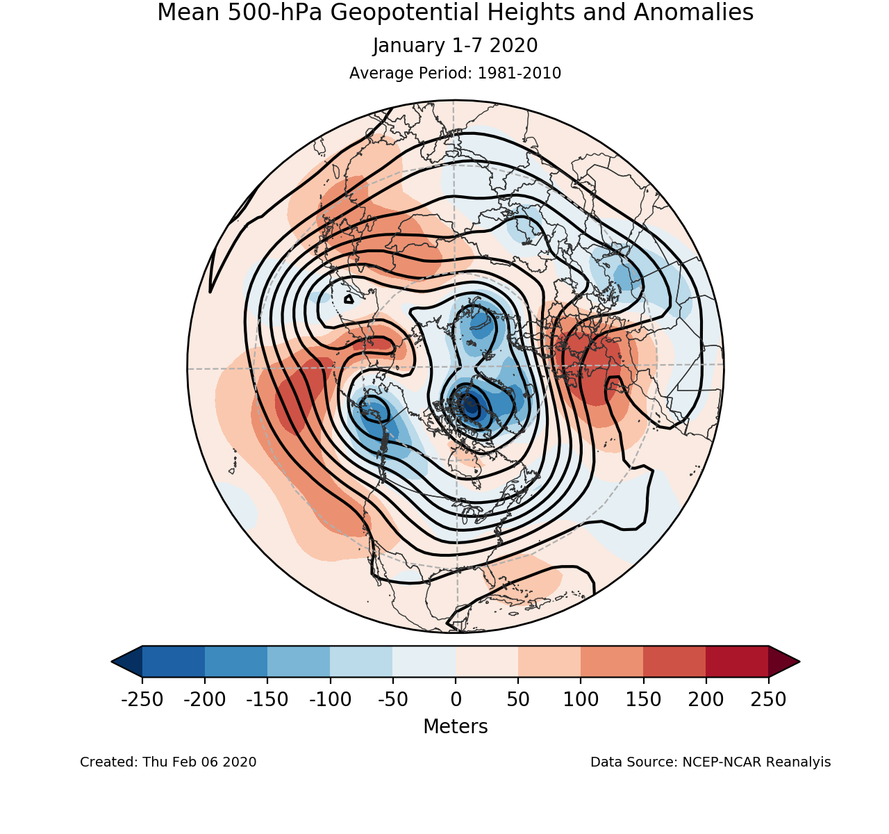 500-mb mean circulation for the Northern Hemisphere for January 1-7 2020