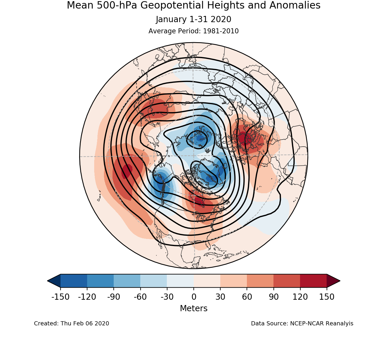 500-mb mean circulation for the Northern Hemisphere for January 2020