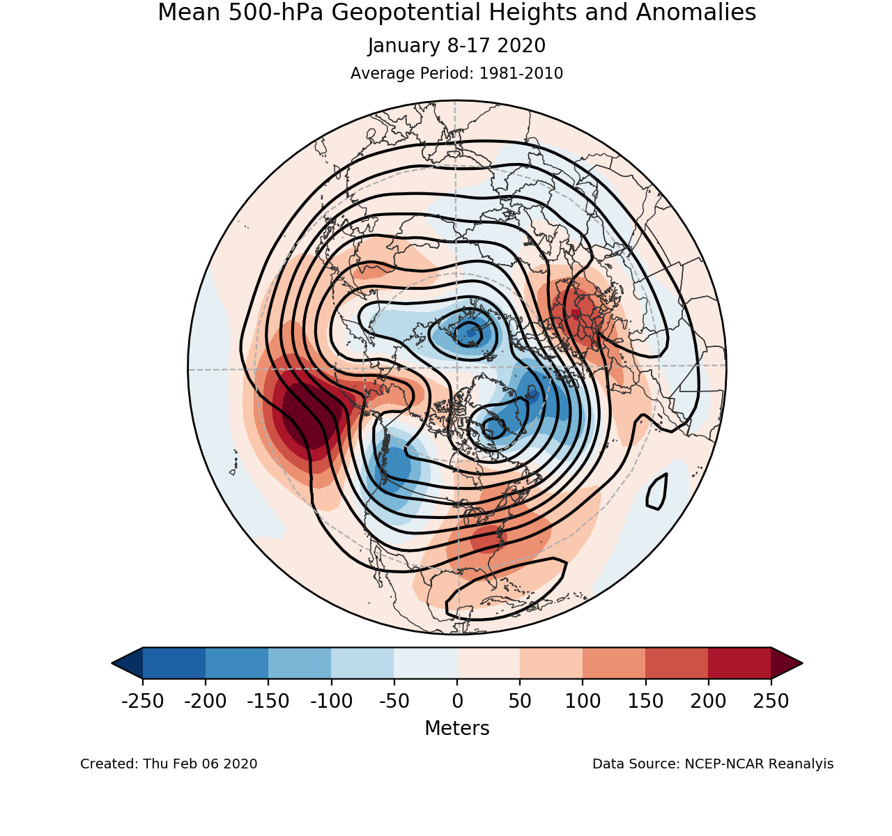 500-mb mean circulation for the Northern Hemisphere for January 8-17 2020