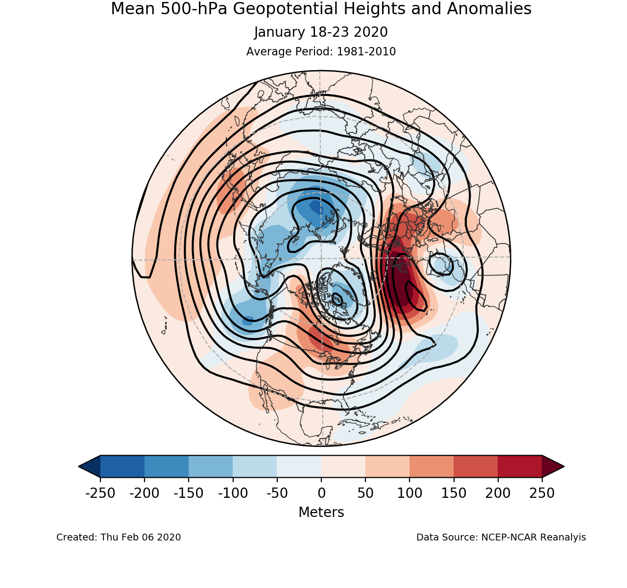 500-mb mean circulation for the Northern Hemisphere for January 18-23 2020