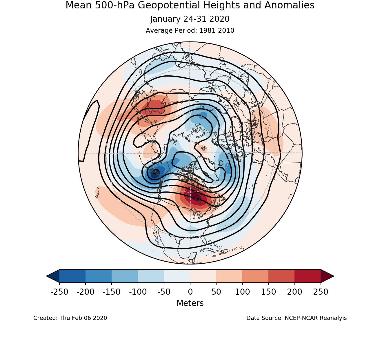 500-mb mean circulation for the Northern Hemisphere for January 24-31 2020
