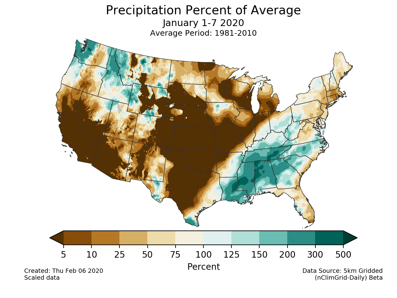 Precipitation anomalies (percent of normal) for the CONUS for January 1-7 2020