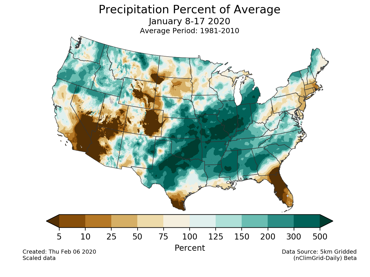 Precipitation anomalies (percent of normal) for the CONUS for January 8-17 2020