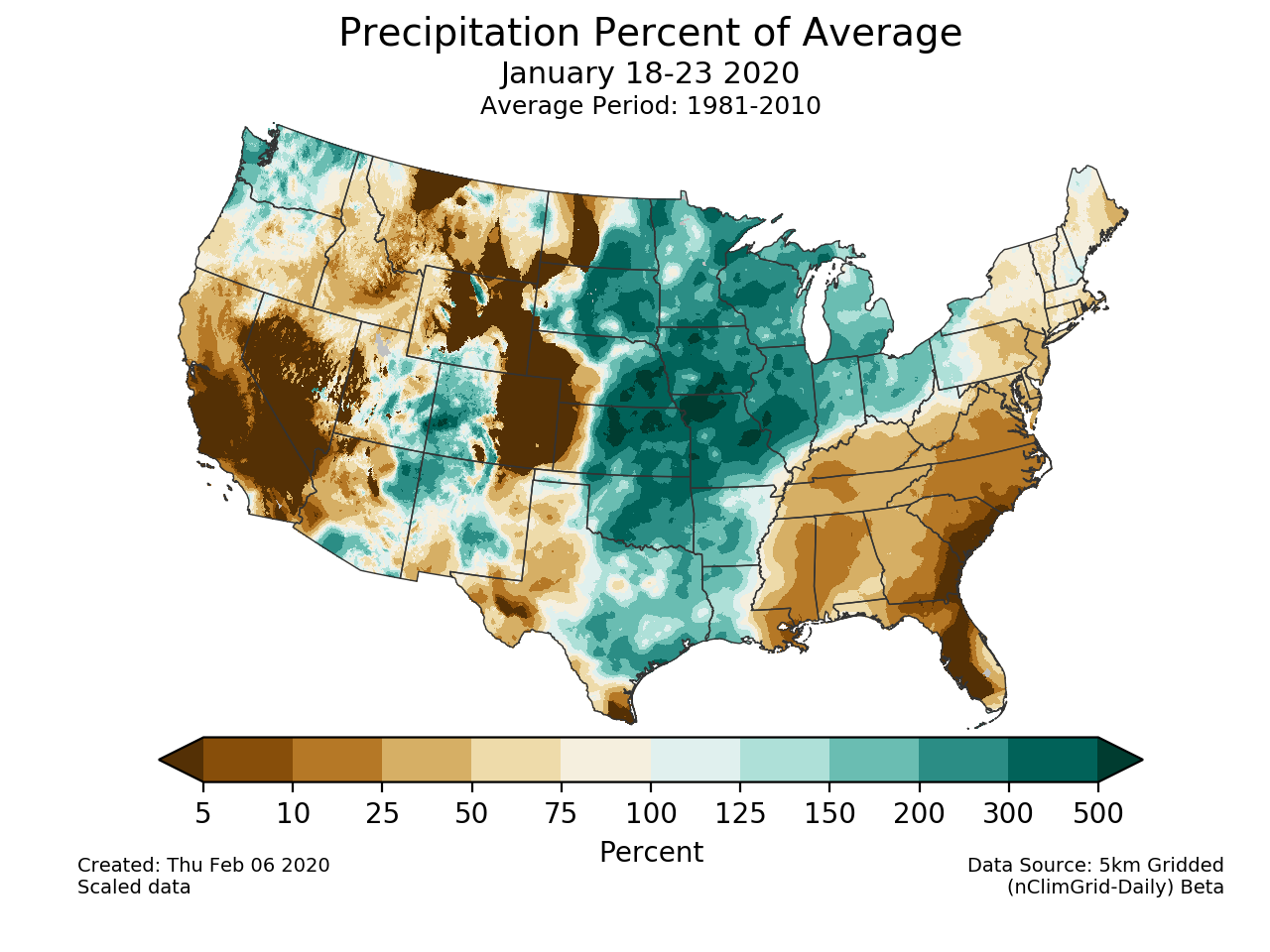 Precipitation anomalies (percent of normal) for the CONUS for January 18-23 2020
