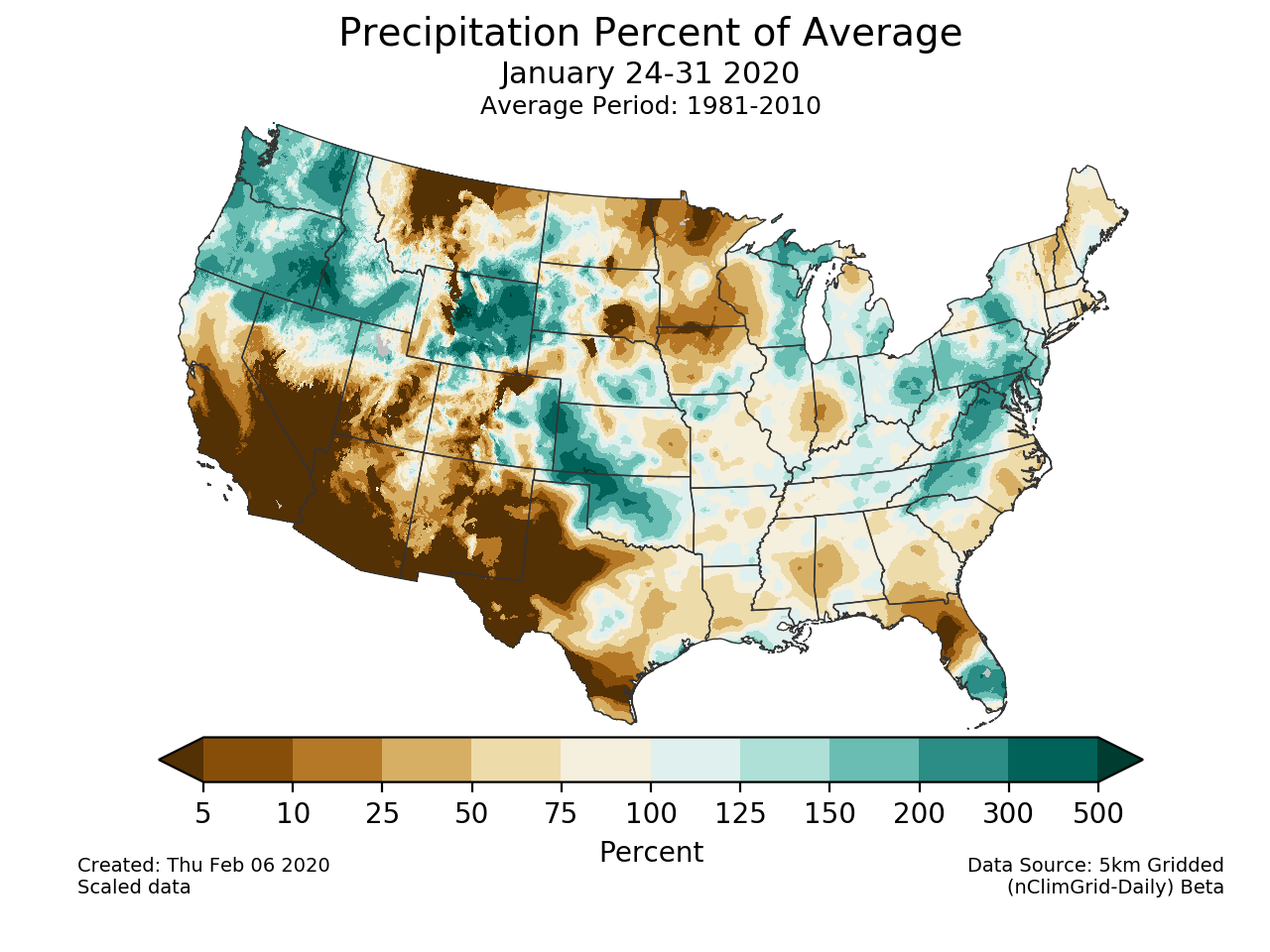 Precipitation anomalies (percent of normal) for the CONUS for January 24-31 2020
