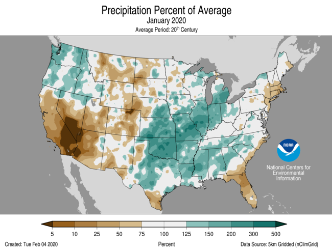 Precipitation anomalies (percent of normal) for the CONUS for January 2020