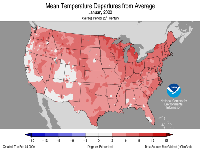 Temperature anomalies (departure from normal) for the CONUS for January 2020