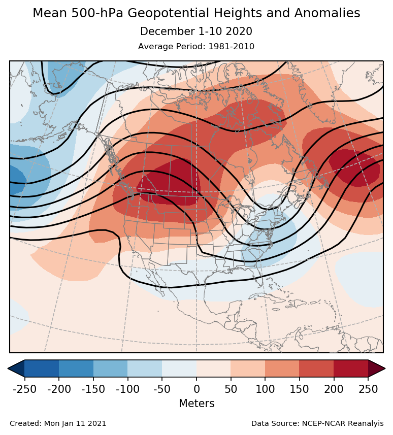 500-mb height mean (contours) and anomalies (shading) for North America for December 1-10 2020