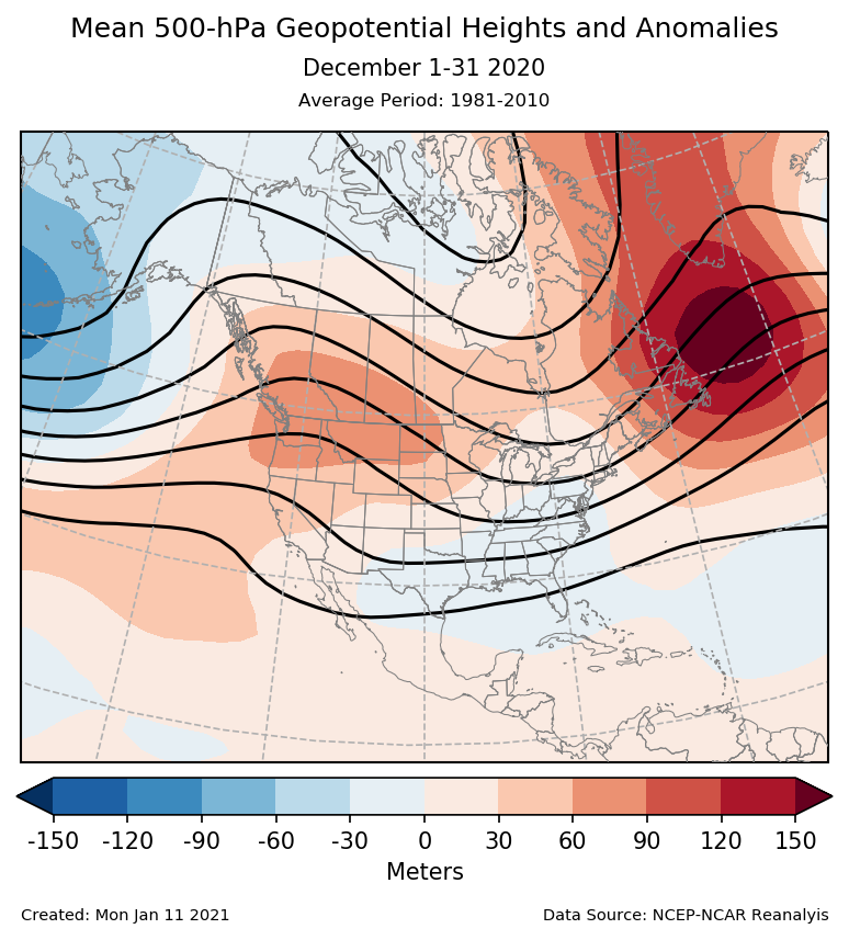 500-mb height mean (contours) and anomalies (shading) for North America for December 2020