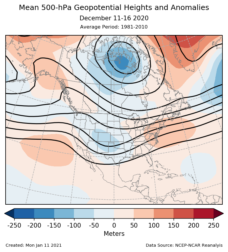 500-mb height mean (contours) and anomalies (shading) for North America for December 11-16 2020