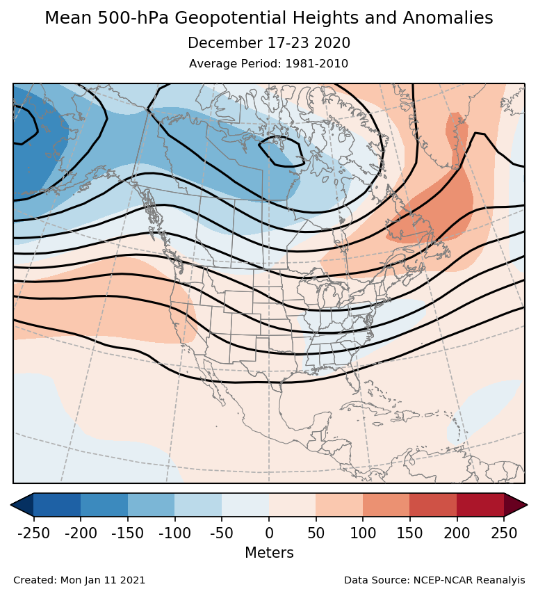 500-mb height mean (contours) and anomalies (shading) for North America for December 17-23 2020