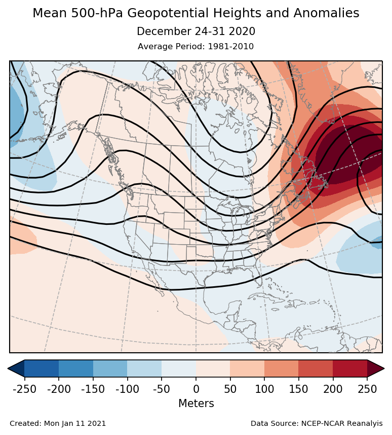 500-mb height mean (contours) and anomalies (shading) for North America for December 24-31 2020