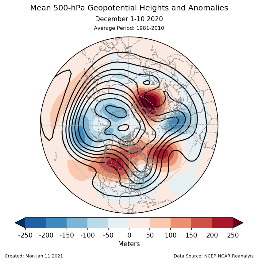 500-mb height mean (contours) and anomalies (shading) for the Northern Hemisphere for December 1-10 2020