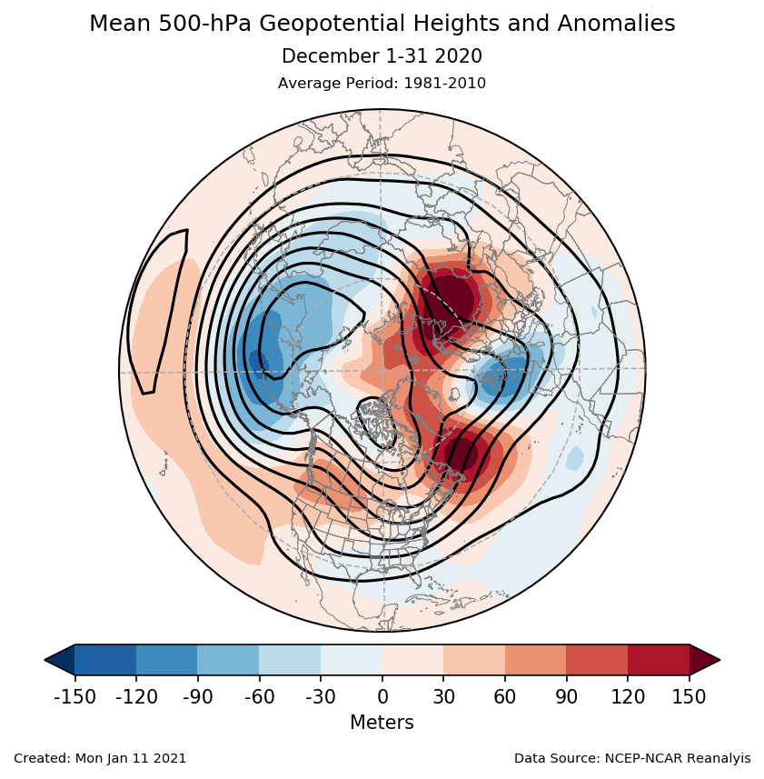500-mb height mean (contours) and anomalies (shading) for the Northern Hemisphere for December 2020