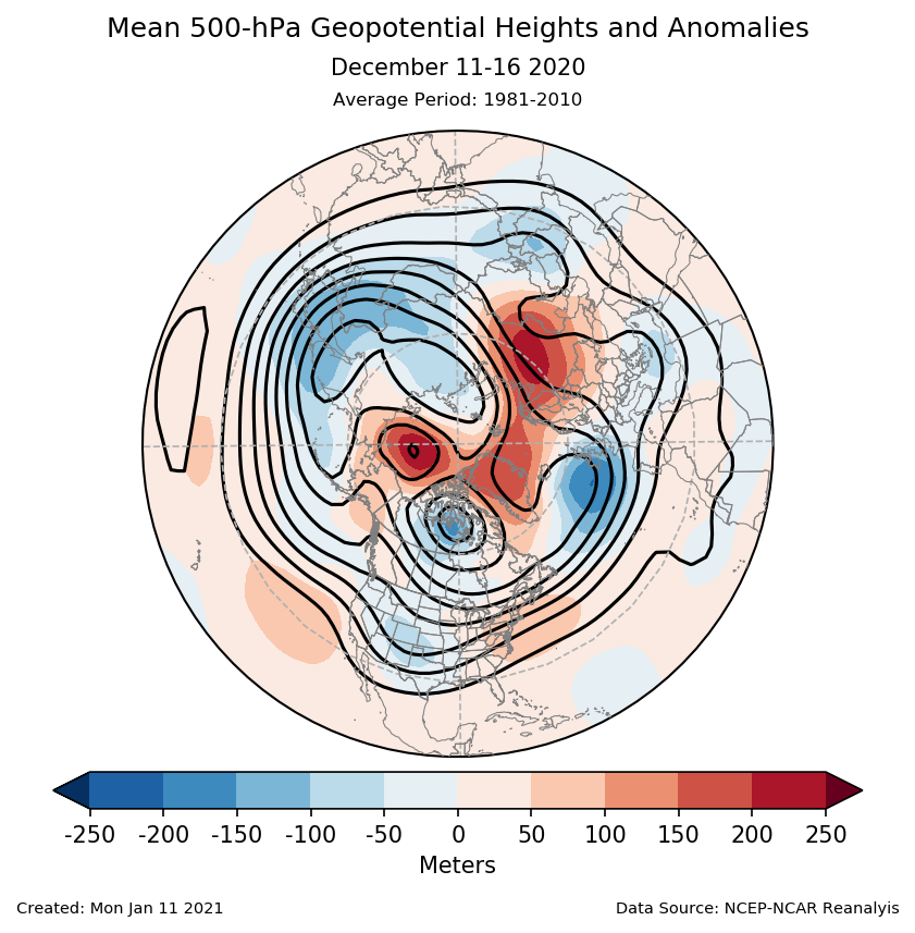 500-mb height mean (contours) and anomalies (shading) for the Northern Hemisphere for December 11-16 2020