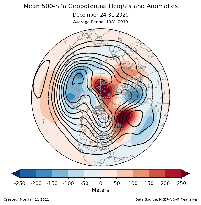 500-mb height mean (contours) and anomalies (shading) for the Northern Hemisphere for December 24-31 2020