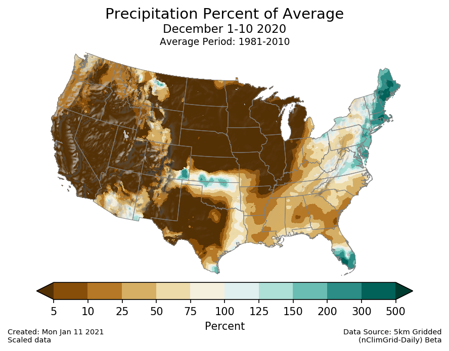 Precipitation anomalies (percent of normal) for the CONUS for December 1-10 2020