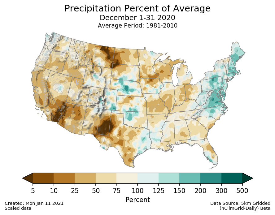 Precipitation anomalies (percent of normal) for the CONUS for December 2020