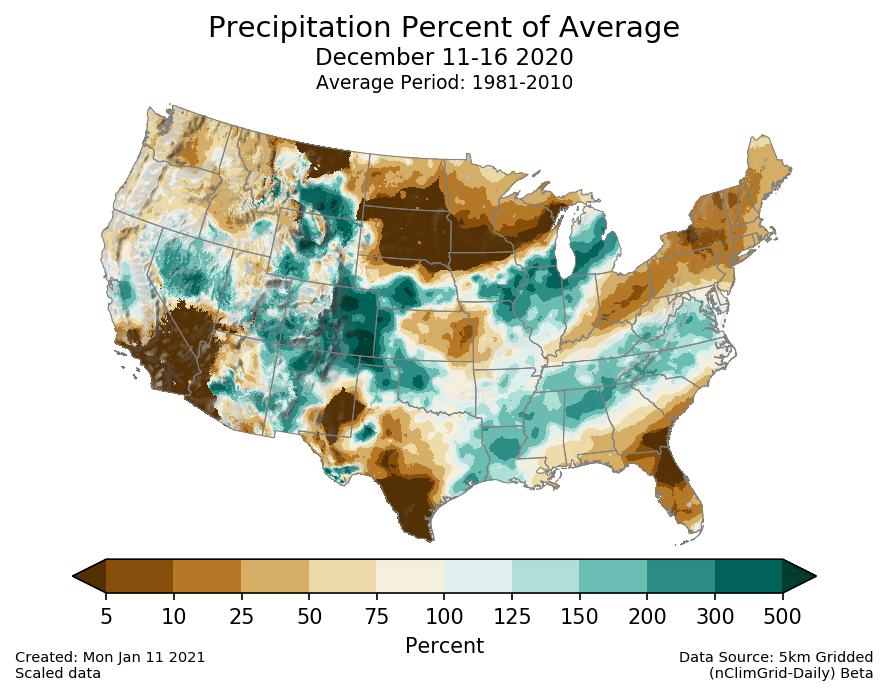 Precipitation anomalies (percent of normal) for the CONUS for December 11-16 2020